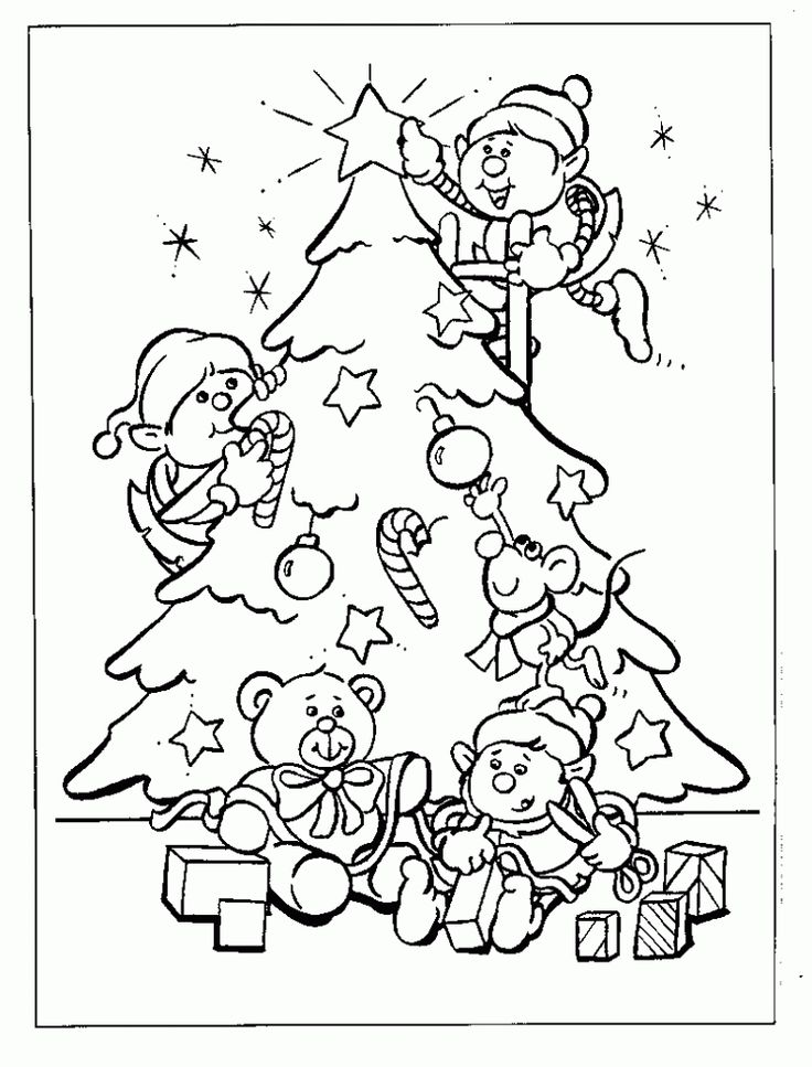 dwarfs christmas tree decorating coloring page - Christmas Tree Printable Coloring Page 2