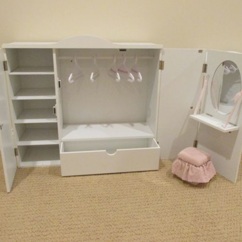 Our Generation Wardrobe Vanity Closet Armoire Trunk For American 18 Doll