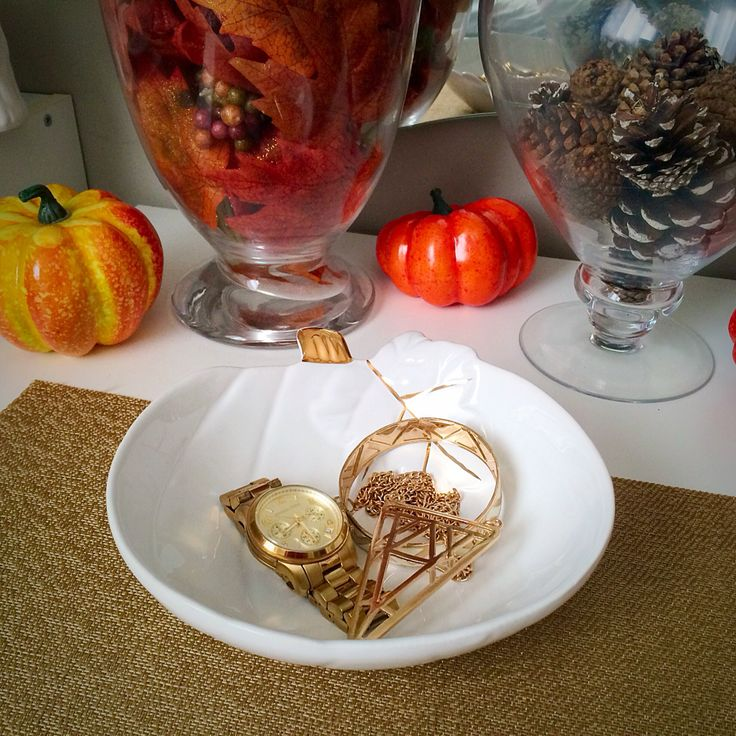 Fall desk decor. White and gold pumpkin bowl for jewelry. Fall inspired apothecary jars