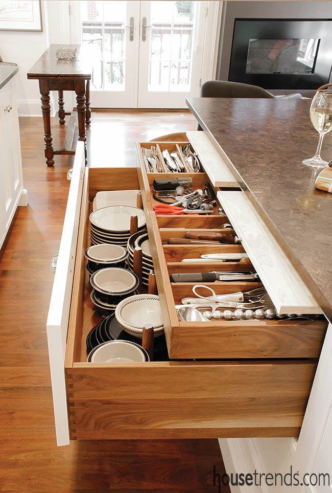 Drawer organizers add order to a kitchen. #housetrends