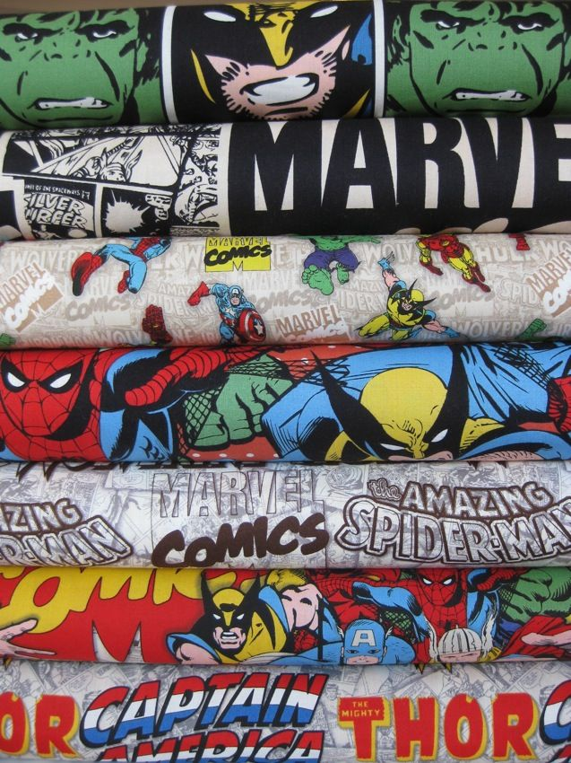 Marvel Comics Fabric - Now if I could just learn how to sew!