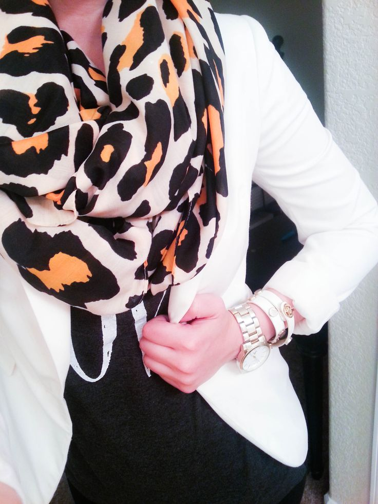 H&M White Blazer + H&M Leopard Scarf + Old Navy LOVE Shirt + Bracelet MintBarry
