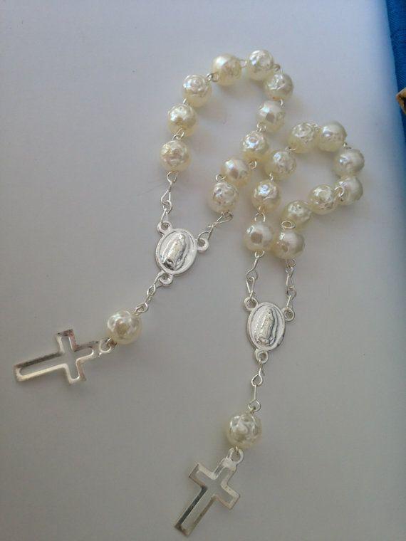 Recuerditos decenario12 pcs /baptism favors Ivory/ decades/ mini rosary / mini rosarios on Etsy, $13.00