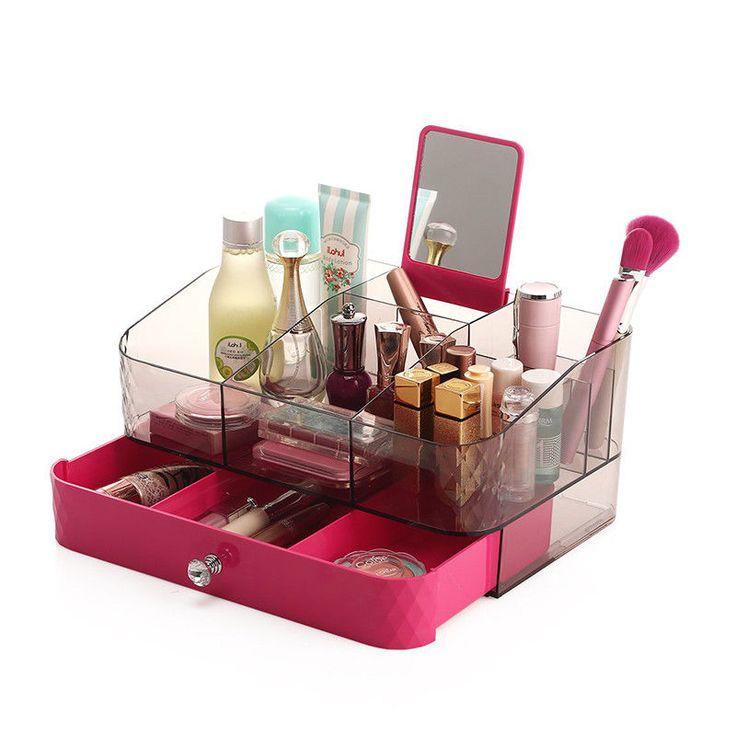 Cosmetic Case Make Up Acrylic Makeup Storage Box Portable Layer Drawers | eBay