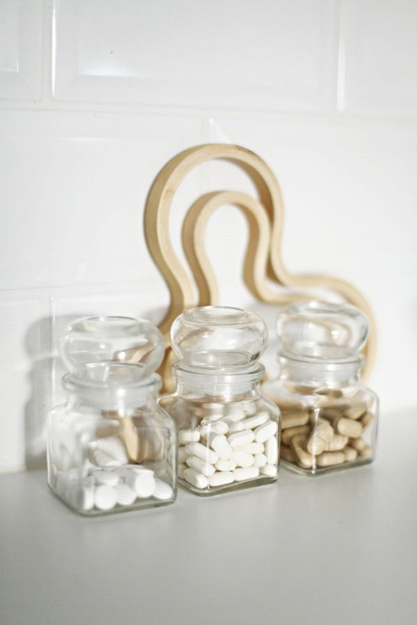 A pretty way to store vitamins...as long as you don't have young kids!