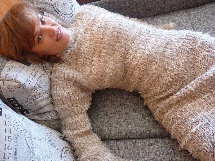 Buy Knitted warm dress handmade, wool - knitting dress, stylish knit dress