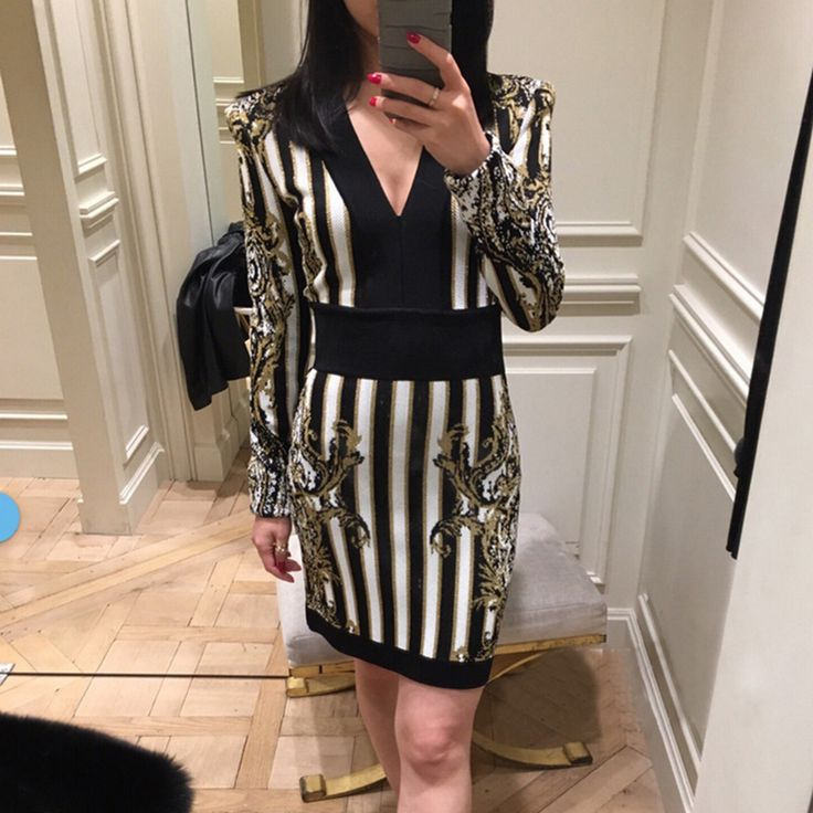 ==> [Free Shipping] Buy Best HIGH QUALITY New 2017 Designer Runway Dress Women's Long Sleeve V-neck Baroque Striped Pattern Bodycon Dress Online with LOWEST Price | 32791442169