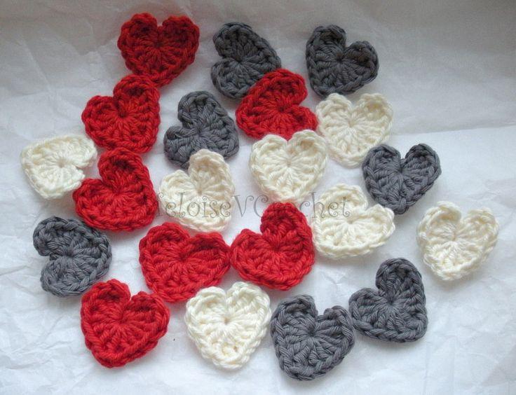 Crochet pattern for 3 size hearts plus cute little 1 row flower pattern.