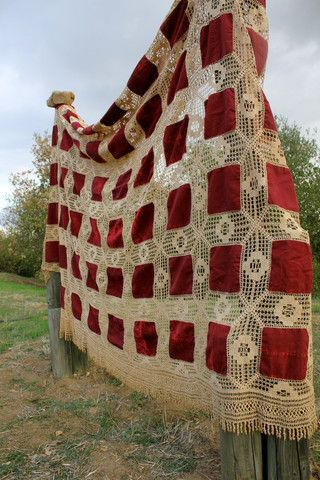Victorian Velvet and Crochet Bedspread – Honeywood