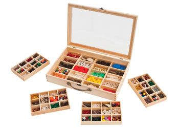Wooden Sorting Box with Lid. This wooden box is perfect for sorting and storing resources or craft. Includes 6 removable trays with a total of 68 compartments.