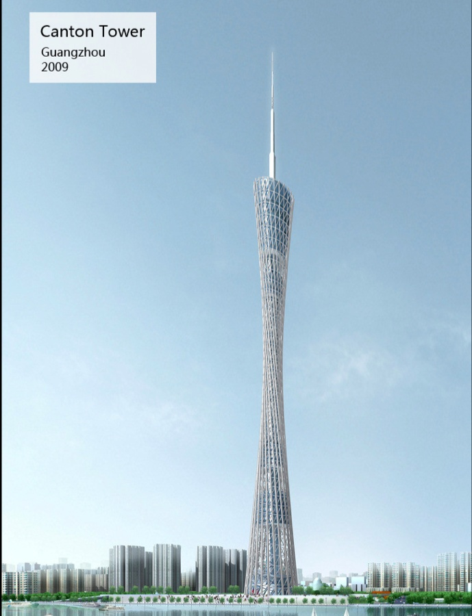 The Canton Tower is a TV tower in Guangzhou, Guangdong Province. The Canton Tower is 600 meters tall and the highest structure in China. It was built from 2005 to 2010 and replaced the Toronto CN Tower as highest TV Tower in the world.Since the completion of the Tokyo Skytree in 2011 (634m) the Canton Tower ranks second highest TV Tower in the world and 4th highest structure behind the Burj Khalifa, the Tokyo Skytree and the Royal Clock Tower of Mecca.