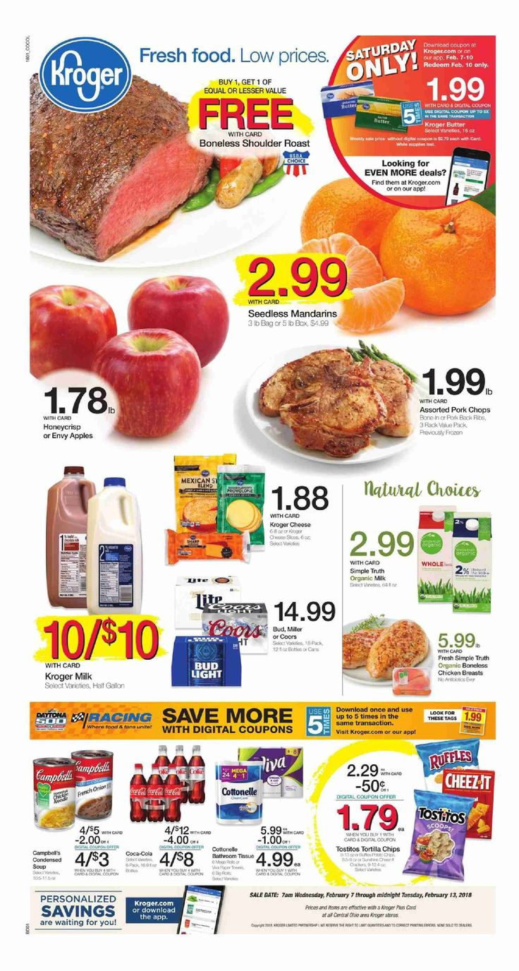 Kroger Weekly ad February 7 – 13, 2018 – Search latest kroger weekly ad here and find digital coupons, Free Friday Download PowerBar, view Recipe Menu, grocery savings, kroger store location, sale prices, deli /Bakery, latest Promotions and the great deals from kroger.         ...