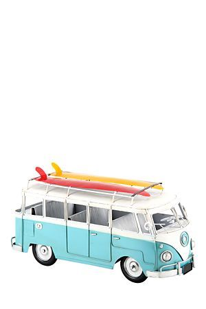 """This metal decorative vintage kombi with surfboard, is a great addition to any office or living area.<div class=""""pdpDescContent""""><BR /><b class=""""pdpDesc"""">Dimensions:</b><BR />L34xW14xH18.5 cm</div>"""