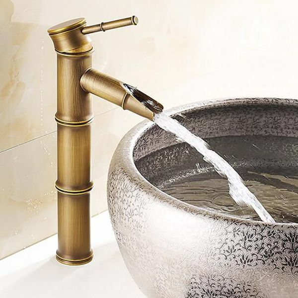 US Retro Antique Brass Bathroom Basin Vessel Sink Vanity Mixer Faucet 1 Hole Tap