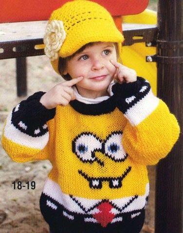 """Детский свитер с рисунком """"Губка Боб"""", вязаный спицами и кепка, вязаная крючком"""