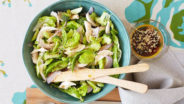 Warm Asian chicken salad with sesame dressing