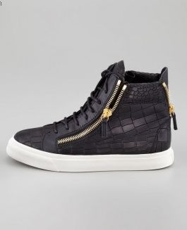 I Want These Shoes Fuck Nike lol Giuseppe Zanotti Men High Top Croc Embossed Sneakers black