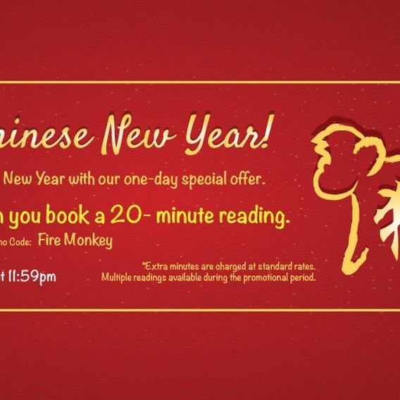 Happy Chinese New Year!  Get 20% off when you book 20 - minute readings!  Keyword: FIRE MONKEY  Hurry! Special promo ends 8 February at 11:59pm GMT  Go to www.psychicsconnect.com for booking.  #psychicsconnect #psychics #psychicsofinstagram #tarotreadings #tarotreadingsonline #crystalreading #love #mediums #mediumship #spiritguides #clairvoyant #clairvoyantsight #followme #crystalball #horoscope #horoscopes #dailyhoroscope #february #dreamreading #dreaminterpretation #fortune…
