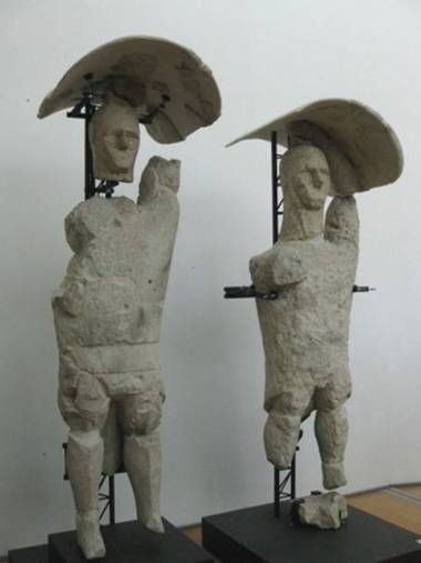 "Eight years of reconstruction have produced 25 of 33 original Mediterranean stone warrior sculptures.  Originally carved 2700 years ago, this smaller army predates China's Terracotta Army and is the ""only group of sculpted life-sized warriors ever found in Europe.""  (via Prehistoric cybermen? Sardinia's lost warriors rise from the dust - Archaeology - Science - The Independent)"