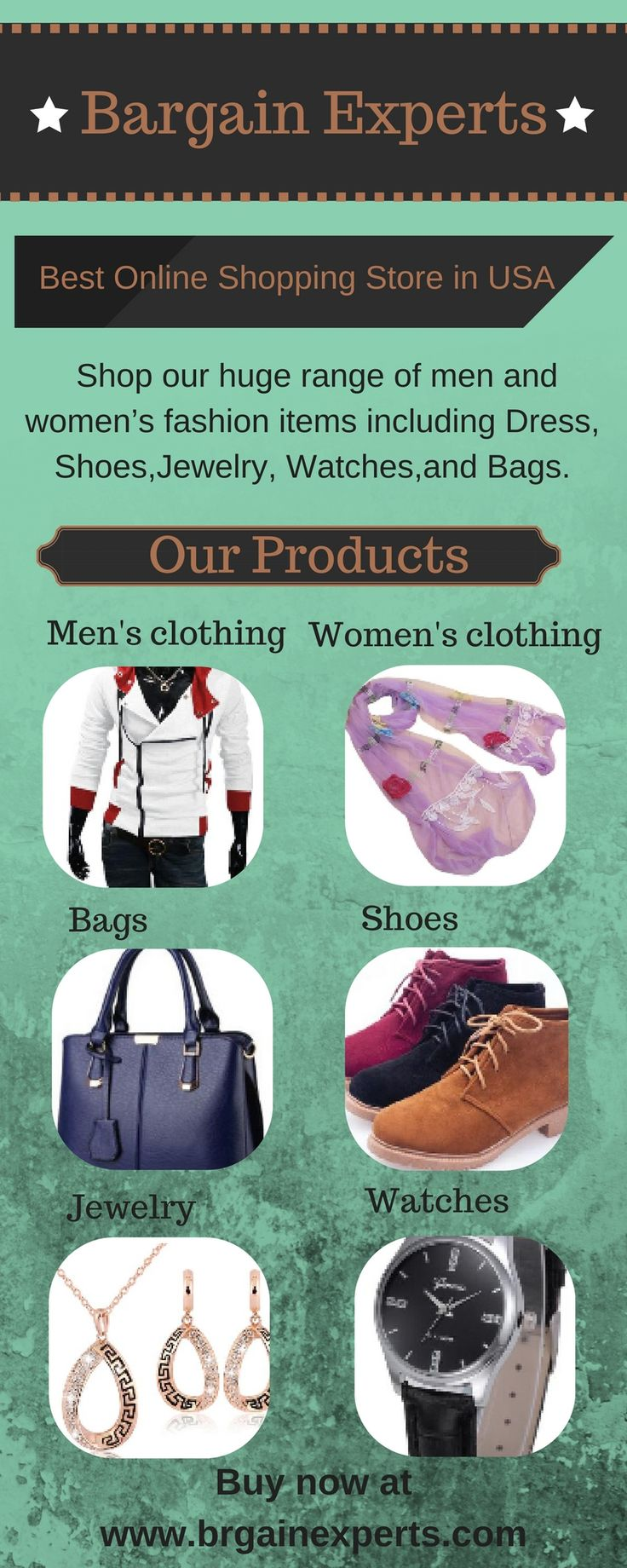 Bargain Experts gives you plethora of options for inexpensive women's clothes, men's designer clothes, artificial jewellery, branded watches, Most Comfortable Mens Shoes, Men's Messenger Bags, Women's Designer Bags. Shopping here is so easy and fun with wide range of products at value for money prices.