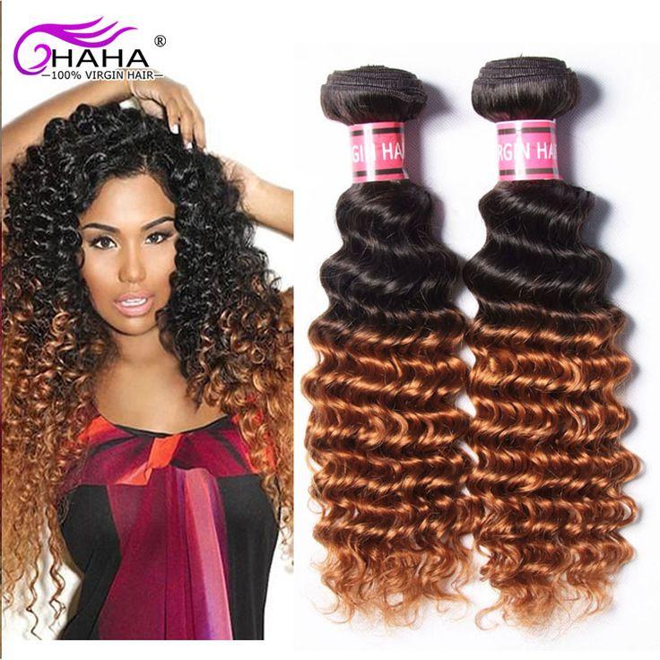 Cheap Brazilian Hair 3bundles 1B/30 Deep Curly Ombre Hair Extension Honey Brown 2 Tone 7A Deep Curly Brazilian Weave Hair Weft