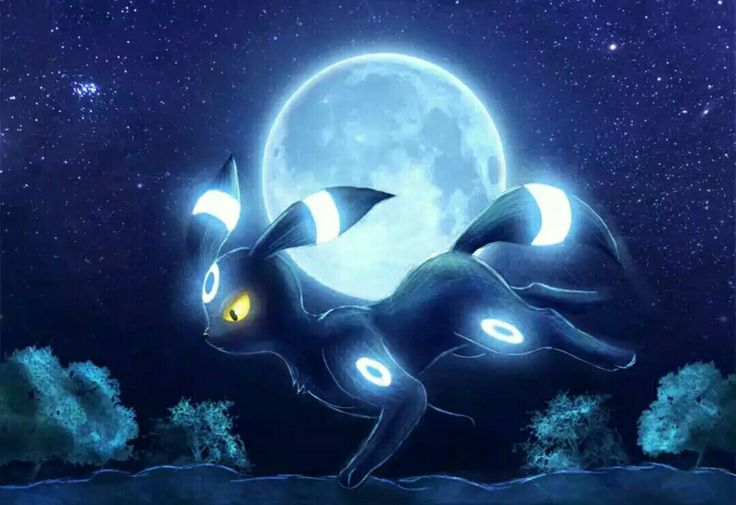 Or It Can Also Be Called Shiny Umbreon Just Jumping Into A Land Full With Blue Moon Glow On Starry Night Forest