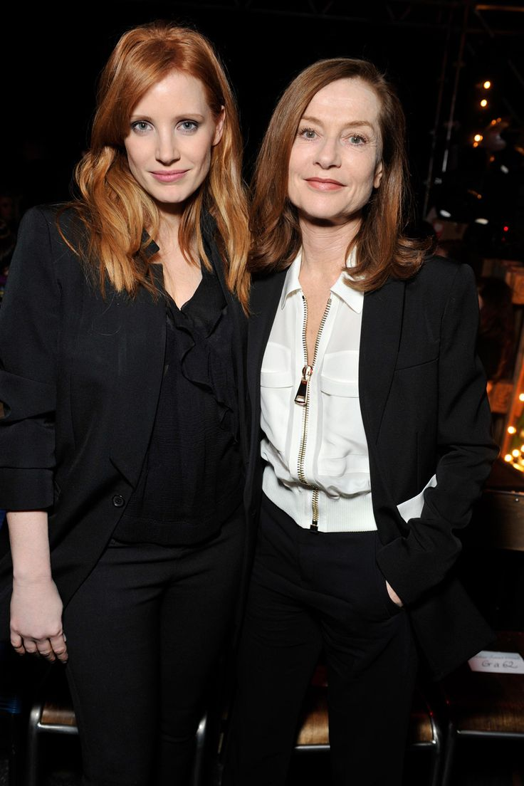 Front row, Jessica Chastain and Isabelle Hupert at Givenchy Autumn-Winter 2015 Fashion Show