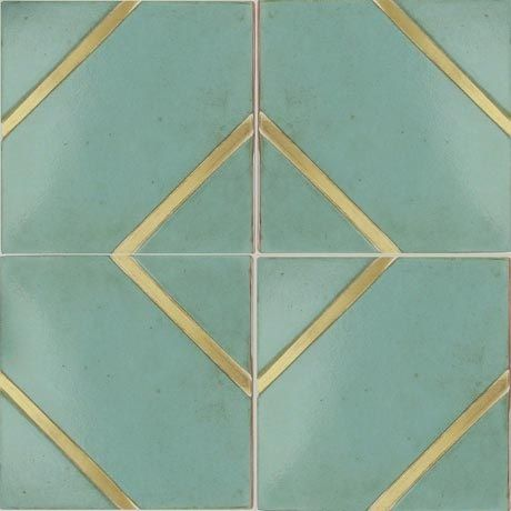 Concrete/cement tiles with brass accents