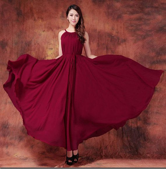 Burgundy red summer sundress boho long maxi dress summer for Burgundy wedding dresses plus size