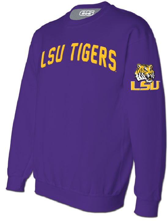 NCAA LSU Tigers Mens Purple Embroidered Crew Sweatshirt $39.95