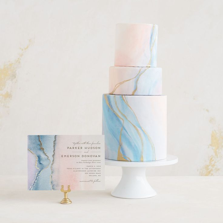 watercolor agate wedding cake and agate invitation with minted // 2017 wedding cake trend