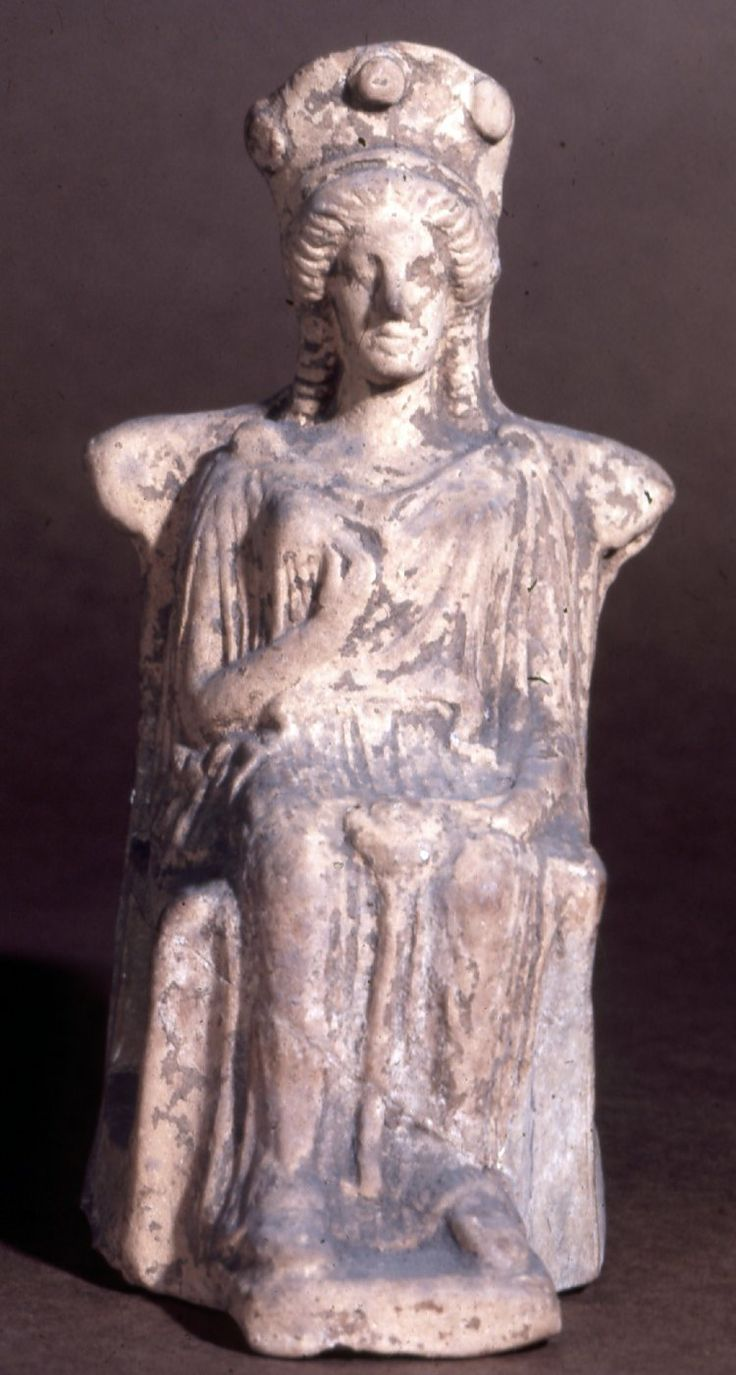 Terracotta figure of a seated goddess, probably Hera ...