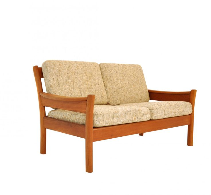 Circa 1960  Sturdy and classy love seat that features a solid teak frame and original light beige mottled wool fabric.  Belongs to a set of 3, consisting of an easy-chair and three-seater sofa. They can be bought individually or as a set.