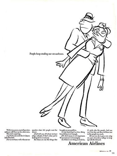 """1965 - American Airlines Ad - """"People keep stealing our stewardesses...It's just the kind of girl we hire!"""" Artist Charles Saxton"""