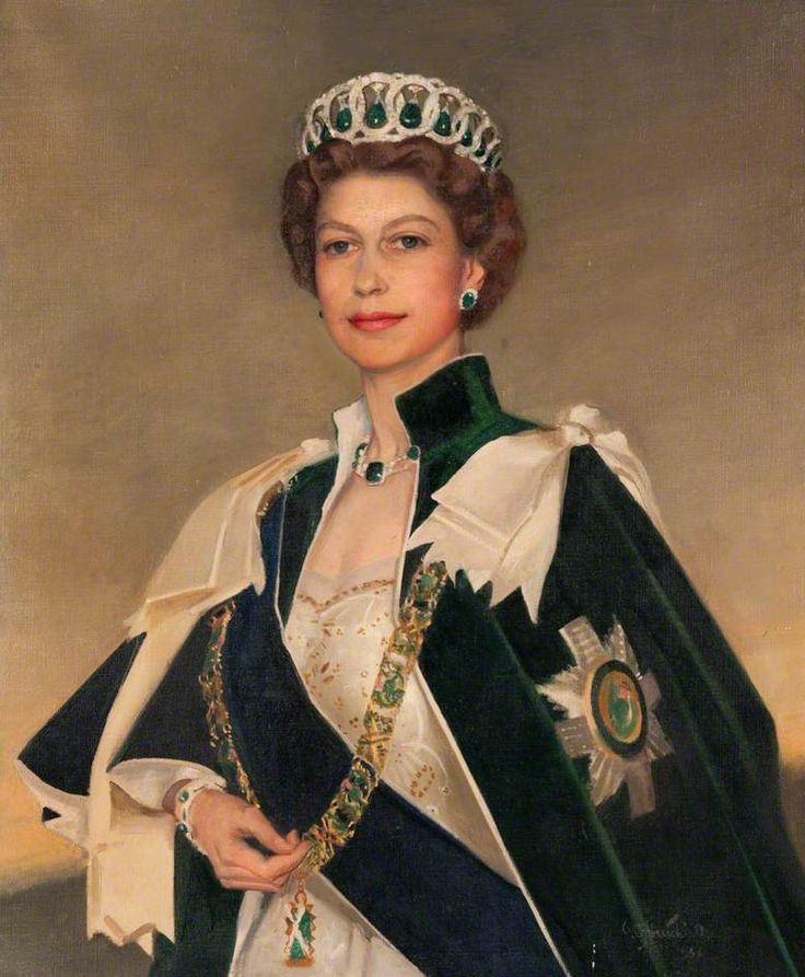 Her Majesty Queen Elizabeth II (b.1926) by William Oliphant Hutchison ~ Date painted: 1956