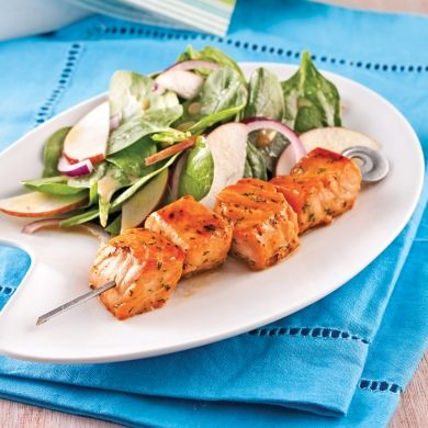 Brochettes de saumon caramélisé à l'érable - Recettes - Cuisine et nutrition - Pratico Pratique