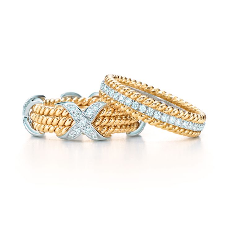 Tiffany & Co. Schlumberger® Rope rings in 18k gold with diamonds in platinum, from left: three-row and two-row. #TiffanyPinterest