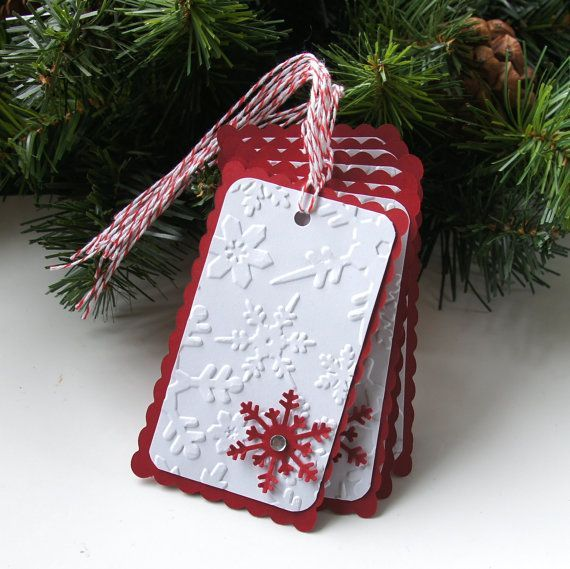 Embossed Snowflakes Christmas Tags or Package Labels by scrapbits, $5.00