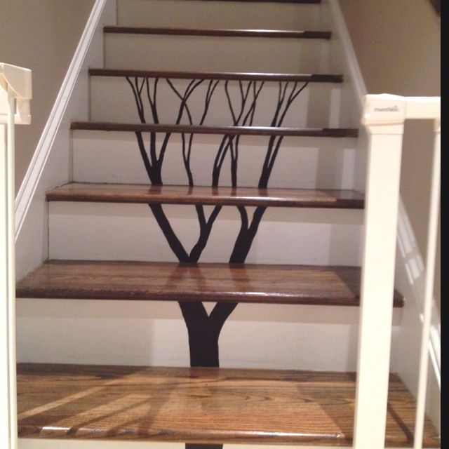 17 best images about stair treatments on pinterest for Painted stair treads