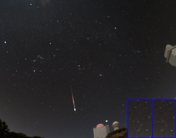 Leonid Fireball over Tenerife (Nov 22 2011)  Image Credit & Copyright: Juergen Rendtel (AIP Potsdam), IMO Historically active, this year's Leonid meteor shower was diminished by bright moonlight. Still, faithful night sky watchers did see the shower peak on November 18 and even the glare of moonlight didn't come close to masking this brilliant fireball meteor. The colorful meteor trail and final flare was captured early that morning in western skies over the Canary Island (...) #astronomy