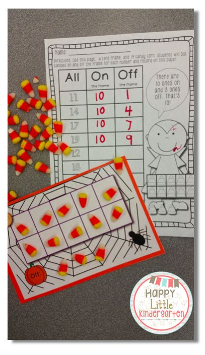 Candy Corn Math Center: Teen Numbers & Place Value.  Boo Crew: Halloween Centers for Kindergarteners