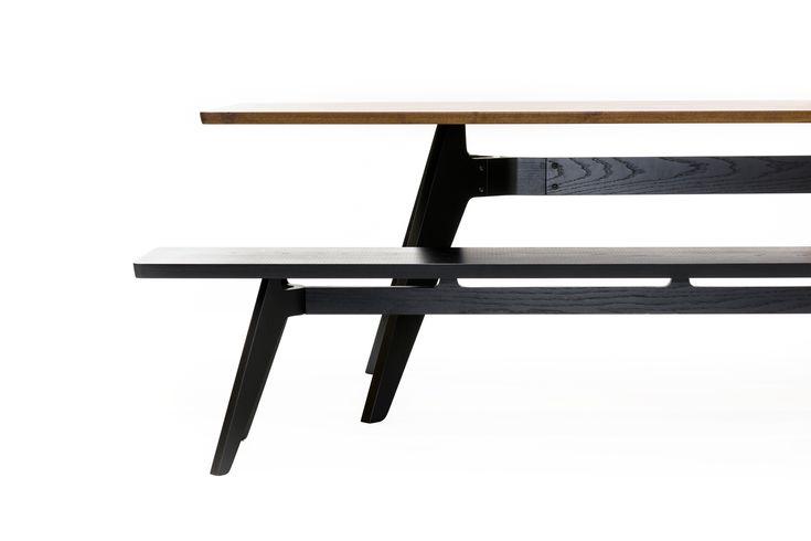 Walnut Rectangular Lavitta Table and Black Lavitta Bench by Poiat