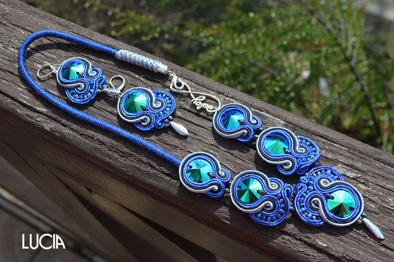 Blue soutache necklace with earrings by LuciaProducts on Etsy