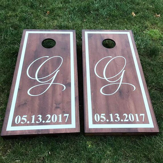 Custom Monogram Wedding Cornhole Boards - Wood Stain Custom Script Monogram Wedding Date