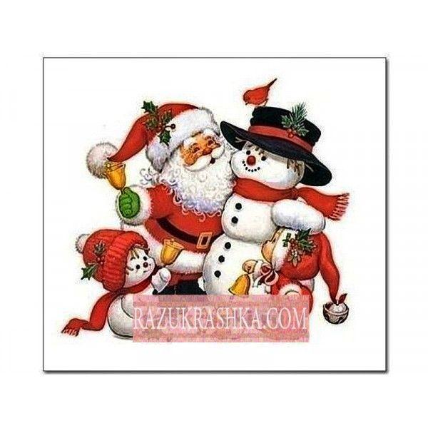 Папертоль «Дед Мороз и снеговик». Купить за 250 р. в магазине Разукрашка.