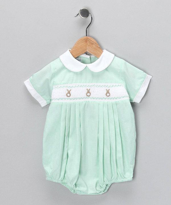 Look at this #zulilyfind! Petit Pomme Mint Gingham Bunny Bubble Bodysuit - Infant by Petit Pomme #zulilyfinds