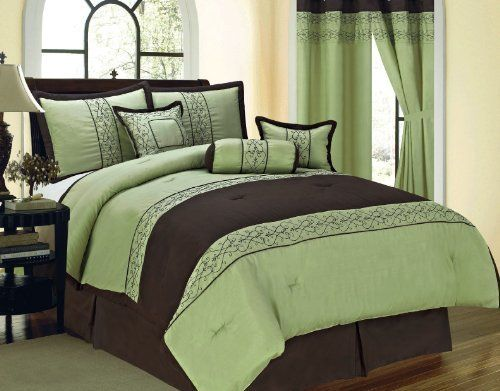"7 Pcs Embroidered Vine Floral Comforter Set Bed In A Bag Queen Sage/Brown by JN. $61.99. 1 Pc Queen Size Comforter (86"" x 86""). 1 Pc Neckroll. 2 Pcs Standard Pillow Shams (20"" x 28""). 1 Pc Bedskirt (60"" x 80"" + 14"" Drop). 1 Pc Square Cushion , 1 Pc Oblong Pillow. 7 Pcs Luxury Comforter Set  This is a very attractive comforter set.  This comforter set will give your room a new look!      Style#: Vine     Condition: Brand New     Size: Queen     Design: Vine Floral..."