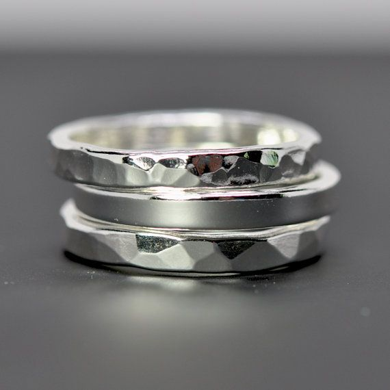 Stacking Silver Rings Pure Silver Eco Friendly Recycled Metal Hammered Handmade Set of Three Sea Babe Jewelry