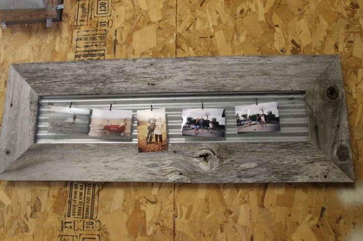 Rustic Clothesline Photo Frame w/ Wire and Clothespins made from Reclaimed Fence Pickets and Barn Metal by CSquaredCustoms on Etsy https://www.etsy.com/listing/204033163/rustic-clothesline-photo-frame-w-wire