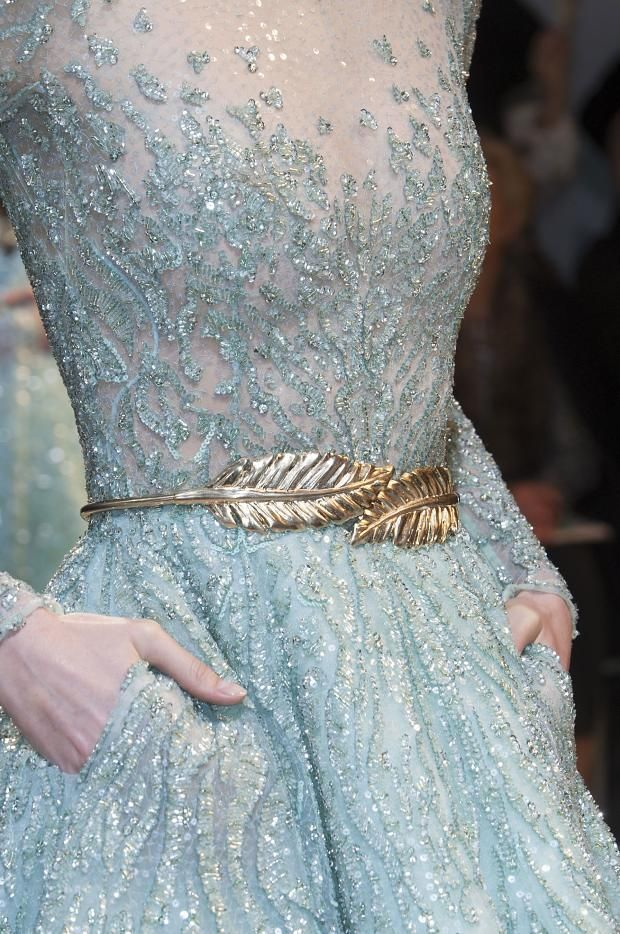 Pastels don't really stick with my skin tone ( I don't think?).. But I feel like a light, blue like this would do. Zuhair Murad Haute Couture Spring 2014 #pastel #blue #gold